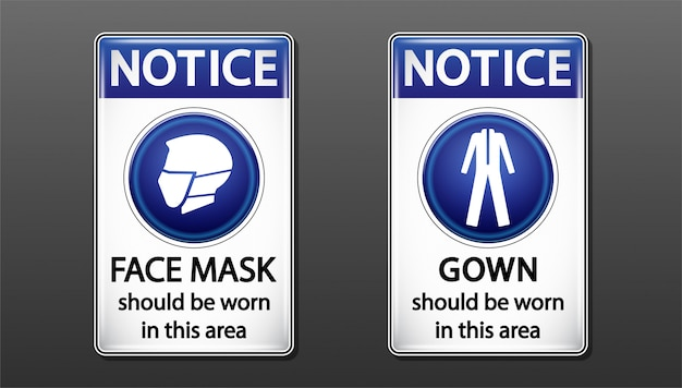 Notice face mask sign.