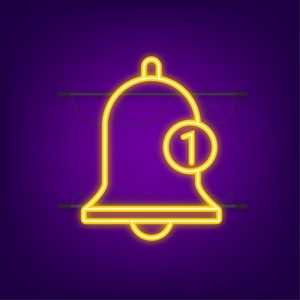 Значок колокольчика для входящего сообщения. неоновая иконка. векторная иллюстрация.