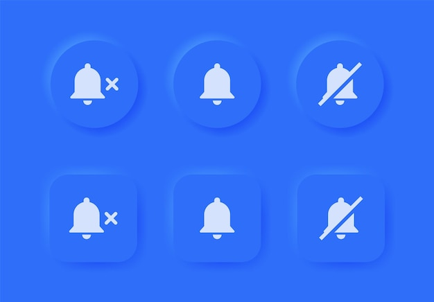 Notification bell icon with mute symbol in blue neumorphism buttons or alarm off neumorphic button