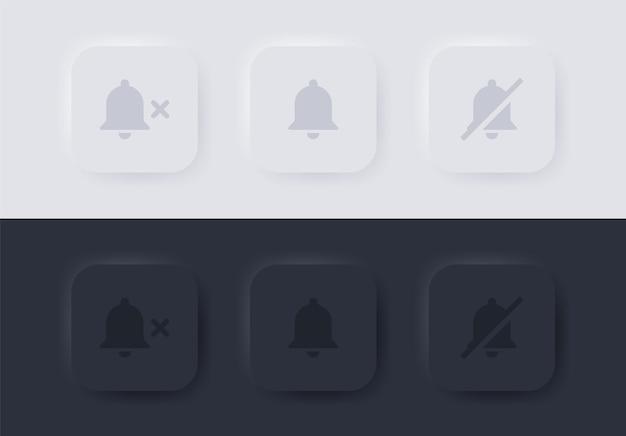 뉴모피즘 버튼에 음소거 기호가 있는 알림 벨 아이콘 또는 뉴모픽 버튼 ui ux에서 알람 끄기