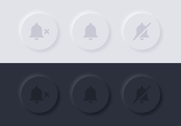 Notification bell icon with mute symbol in neumorphism buttons or alarm off neumorphic button ui ux