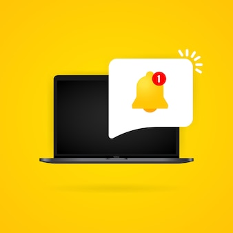 Notification bell on laptop display illustration. new message. vector on isolated background. eps 10.