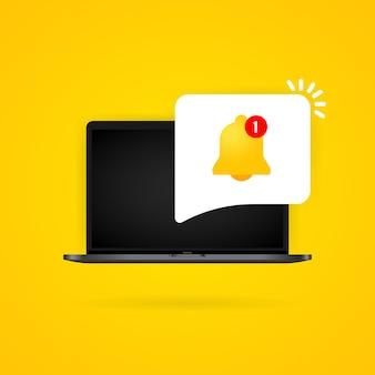 노트북 디스플레이 그림에 알림 벨입니다. 새로운 메시지. 격리 된 배경에 벡터입니다. eps 10.