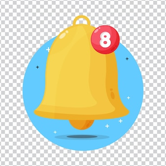 Notification bell with number on blank background