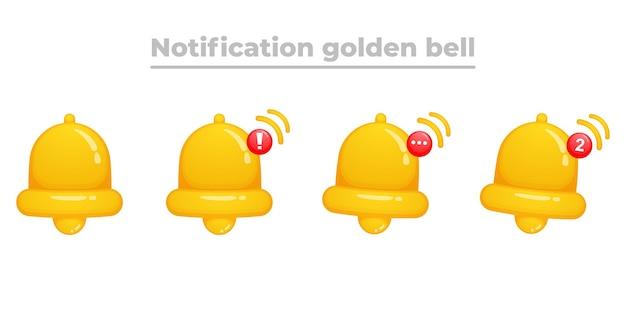 Notification golden bell cartoon premium vector
