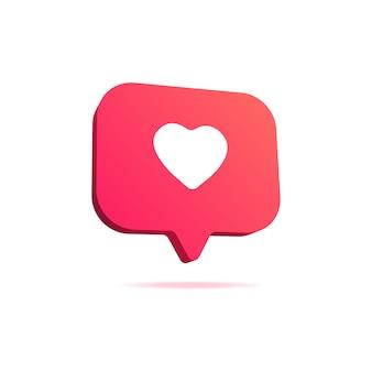 알림 좋아요 또는 사랑 아이콘. 소셜 네트워크 앱 아이콘.