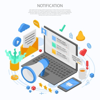 Notification message concept banner, isometric style