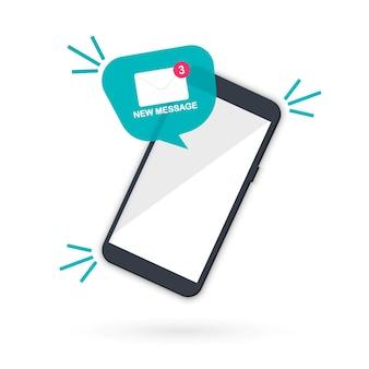새 이메일 알림. 스마트폰 화면에 새 메시지입니다. 말풍선에 있는 메일 아이콘