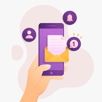 Уведомление об одном новом сообщении в концепции дизайна смартфона
