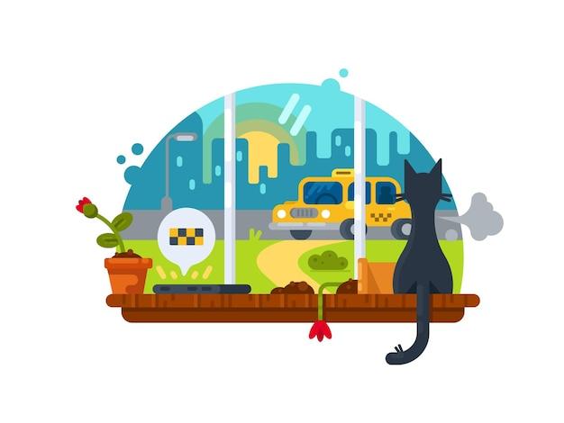 Уведомление о прибытии. кошка сидит на подоконнике и смотрит на машину. векторная иллюстрация