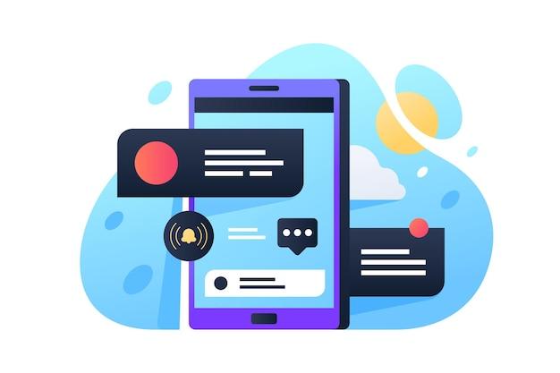 모바일 화면 그림에 알림. 새로운 메시지 플랫 스타일을위한 스마트 폰 및 링. 기술 및 통신 개념. 외딴