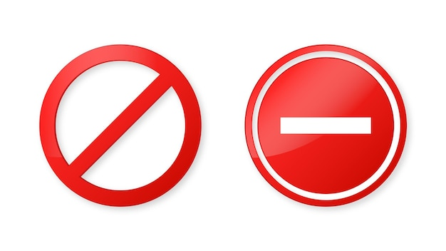 Notification stop sign icon or banned symbol in modern