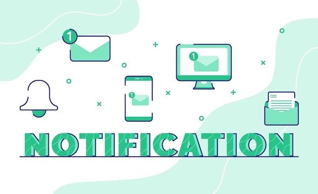 Notification typography word art background of icon bell email message smartphone computer with outline style
