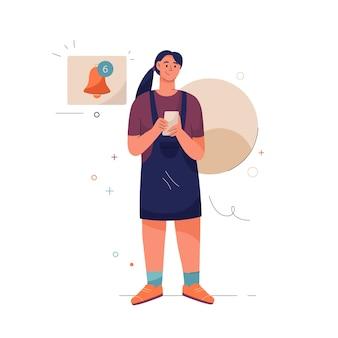 通知の概念幸せな女性がリマインダーを設定します