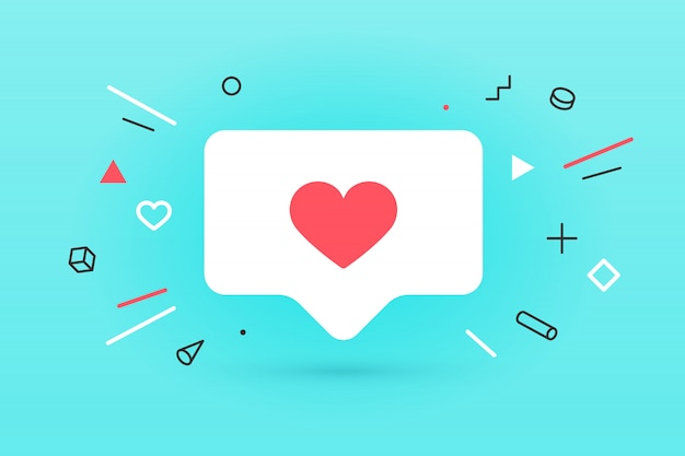 Значок уведомлений как, речи пузырь. как значок с сердцем, один как и тень для социальной сети на красном фоне. концепция речи пузырь, плакат и наклейка для, веб. иллюстрация