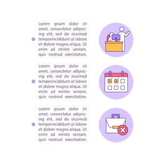 Notifying your employer concept line icons with text. resignation job template