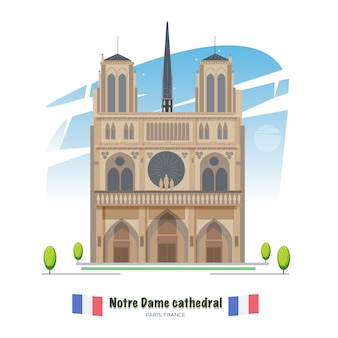 Notre dame cathedral in paris - vector