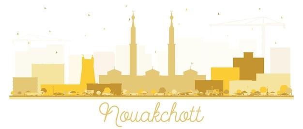 Nouakchott mauritania skyline golden silhouette. vector illustration. simple flat concept for tourism presentation, placard or web site. business travel concept. nouakchott cityscape with landmarks.