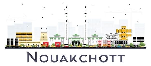 白い背景で隔離の色の建物とヌアクショットモーリタニアのスカイライン。ベクトルイラスト。近代建築とビジネス旅行と観光の概念。