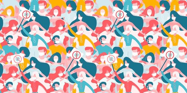 Новый коронавирус, 2019-нков, covid-19 seamless pattern., разные люди в белых медицинских масках, держащие доски объявлений в руках.