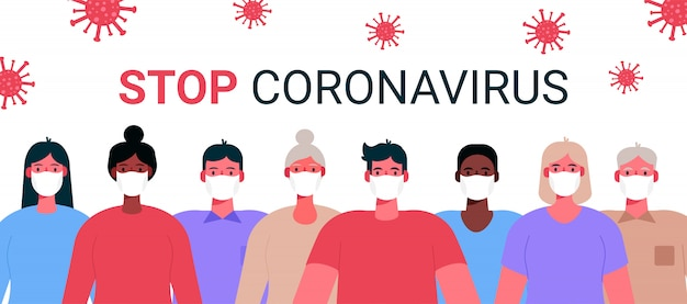 Novel coronavirus 2019-ncov. group of people, adults, old people wearing white medical face masks