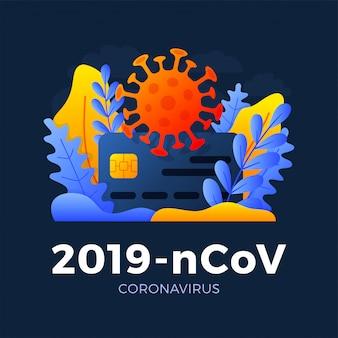 暗い背景に分離されたクレジットカードストックイラストの新しいコロナウイルス2019-ncov薬、薬を払ってのコンセプトコンセプト。新規コロナウイルスを使用したカードの表面