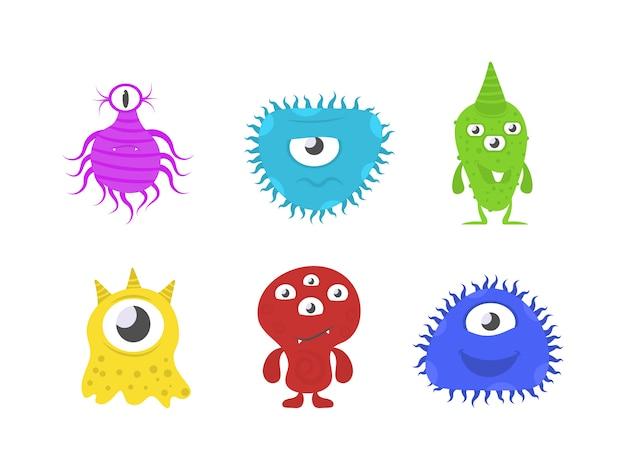新規コロナウイルスバクテリア2019-ncov。漫画の細菌、細菌、ウイルス、微生物。さまざまな感情を持つ面白い漫画モンスターのセットです。面白いキャラクターコレクション。