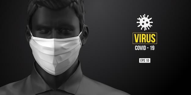 Novel coronavirus covid-2019. man in black color in white mask on a black background.