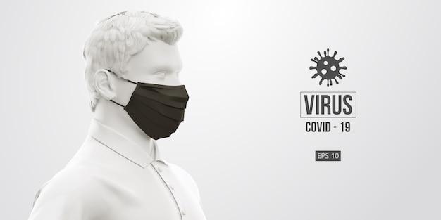 Novel coronavirus covid-2019. man in white color in black mask on a white background.