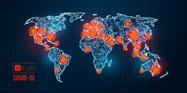 新しいコロナウイルス、流行は国によって青色の背景に広がります。世界。