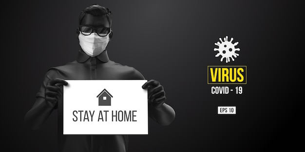 Novel coronavirus. man in black color in white mask on a black background. stay at home. work from home. medical mask and virus protection.