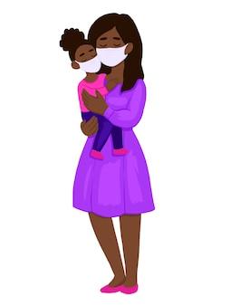 Новый коронавирус, женщина и ребенок в медицинских масках.