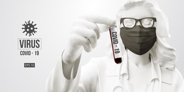 Novel coronavirus. woman with black mask on a black background.