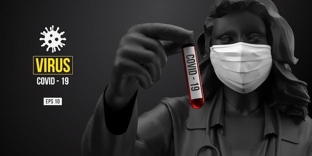 Novel coronavirus. woman with white mask on a black background.