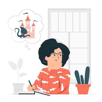Писатель пишет концепцию иллюстрации