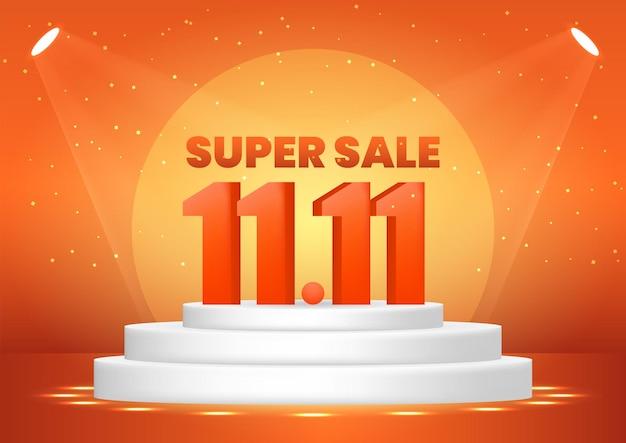 11월 11일 포스터, 웹 배너, 방문 페이지, 포스터, 전단지, 판촉 자료를 위한 받침대에 있는 슈퍼 세일 쇼핑의 날.