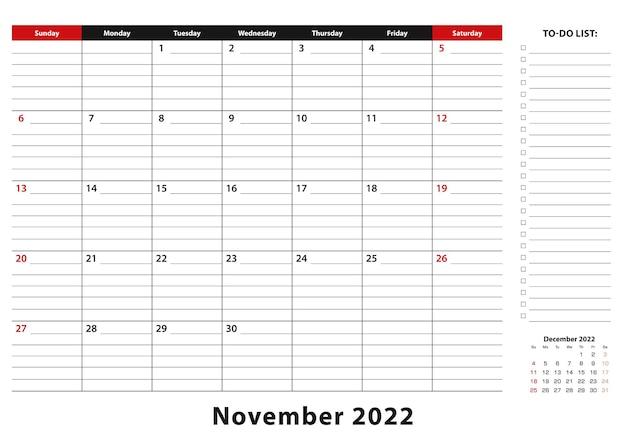 Ноябрь 2022 г. ежемесячная неделя настольного календаря начинается с воскресенья, размер a3.