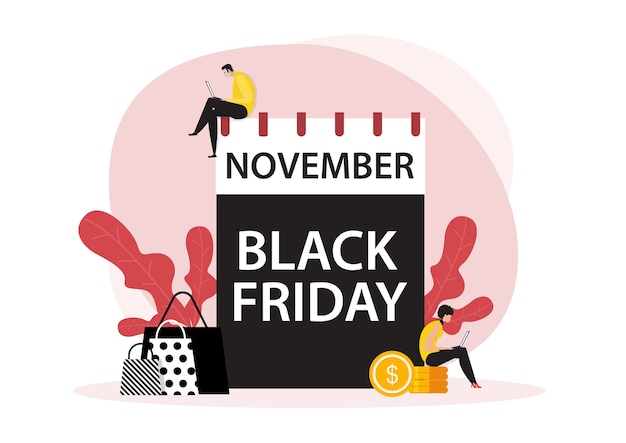 Ноябрь дата черная пятница с людьми интернет-магазин плоской концепции.