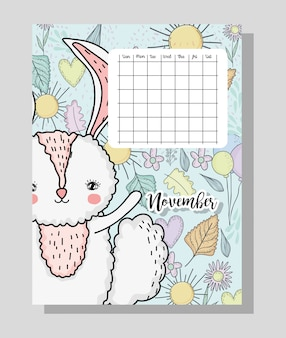 November calendar information with rabbit and flowers