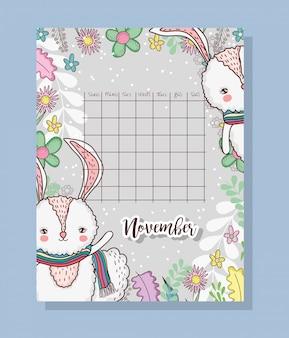 November calendar with cute rabbits animal