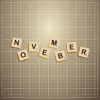 November month cut out letters stick on information board