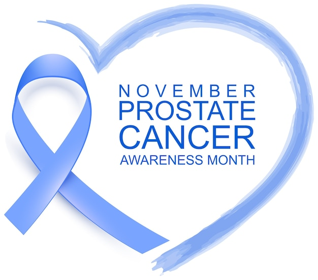 November prostate cancer awareness month blue ribbon heart shape symbol support campaign. isolated on white illustration