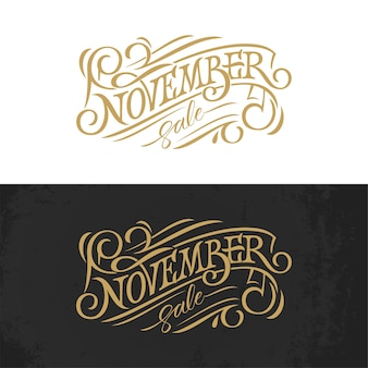 November vintage typography illustration