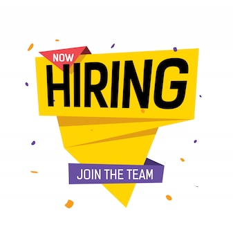 Now hiring, join the team lettering on yellow origami speech bubble with violet spots.