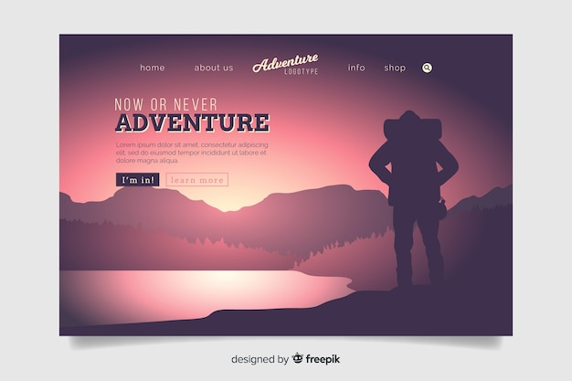 Now or never adventure landing page