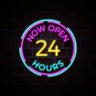 Now open 24 hours neon sign illustration