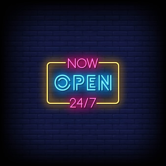 Now open neon signs style text