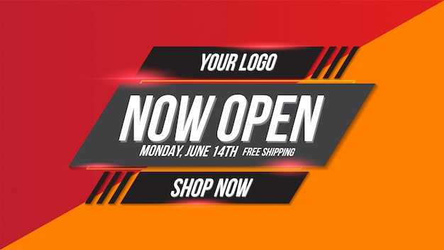 Now open shop or new store red and orange color sign on black background.template design