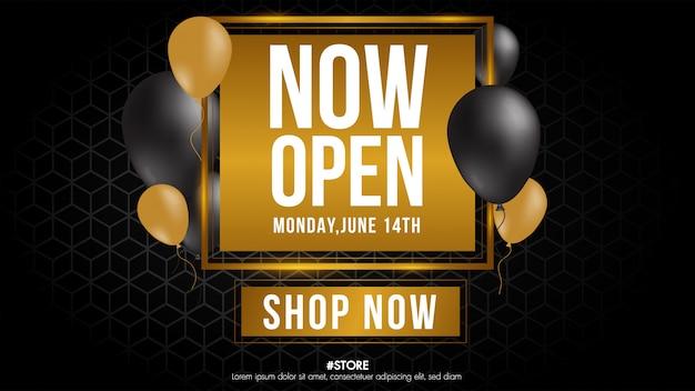 Теперь откройте магазин или новый магазин золотого и серого цвета, роскошный знак на черном фоне. шаблон дизайна