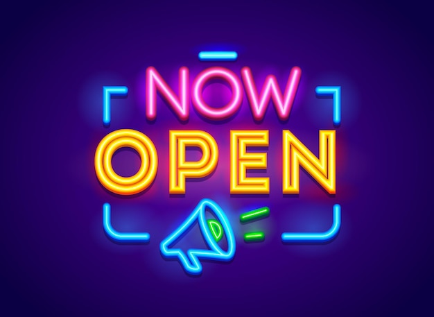 Now open typography, glowing neon banner isolated on blue background. sign for store, shop door or company service
